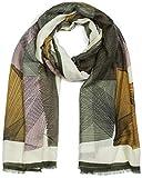 styleBREAKER Damen Schal mit grafischem Linien Muster und Fransen, Stola, Tuch 01017095, Farbe:Oliv-Curry-Rose