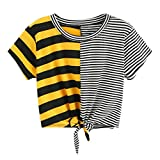 Hot Sale! Womens Striped Patchwork Crop Tops Kanpola Clearance Ladies Fashion Short Sleeve Round Collar Tee Bandage Bowknot T Shirt Blouse
