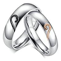 Stainless Steel Wedding Ring For Couple Love Heart Puzzle Cubic Zirconia Women Size R 1/2 & Men Size P 1/2