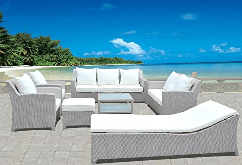 Design Gartenmöbel Lounge Sitzgruppe Polyrattan aus Doppelsofa, 3er Sofa, Sessel, Liege, Hocker & Tisch, Fertig montiert! (Liege-lounge-sessel)