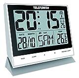 Wecker Funkwecker Wanduhr lautlos digital XL groß USB Anschluss zur ext. Stromversorgung Temperaturanzeige und Kalender Sensor-Tasten auf der Vorderseite zur einfachen Bedienung weiß Telefunken FUX-500 (W)
