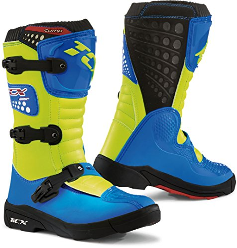 9103 - TCX Comp Kids Motocross Boots 35 Royal Blue Yellow Fluo (UK 3)