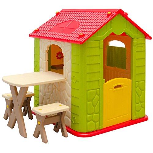 LittleTom Kinderspielhaus mit Tisch und 2 Bänken Spielhaus KS-114 aus Kunststoff für Jungen und Mädchen
