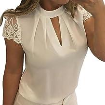 VENMO Camisetas Mujer verano Tops Mujer verano Mujeres Casual Blusa de Gasa Camisetas de mangas corta