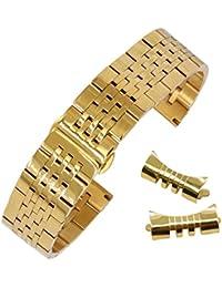 20mm pulsera de reloj de acero inoxidable sólido duradero para el estilo jubileo banda de metal reloj de los hombres del deporte en oro