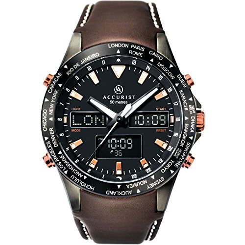 Accurist Mens Stainless Steel Dual Display Leather Strap Watch 7101