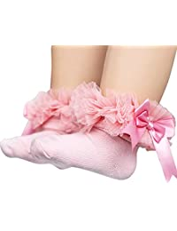 BOBORA Bébé Filles Chaussettes en coton Princesse Chaussettes avec Bowknot pour 0-5 ans