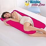 Ducomi BabyLuna - Still und Schwangerschaftskissen mit doppeltem Futter 100% Bio-waschbare Baumwolle - 110 x 60 cm - U-förmige Körperstütze für Mama, Baby - Rückenstütze, Beine, Bauch (Fuchsia)