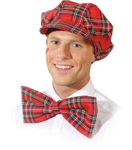 (Orlob Mütze mit Schleife rot-kariert zum Schotten Clown Kostüm Karneval)