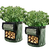 Librao 2pcs Planting Potato Grow Bags Waterproof PE Gardening Vegetable Planter Container 7 Gallon with Flap