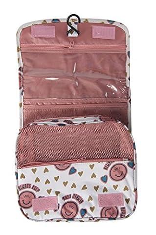 Femme pour homme Trousse de toilette à suspendre Grande étui de transport, Produits de toilette kit, maquillage Pouch Sacs, Enfant, Pink Smile