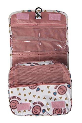 Frauen Herren Kulturbeutel zum Aufhängen Groe Reise Case, Toilettenartikel Kit, Make-up-Säckchen, Kinder, Pink Smile