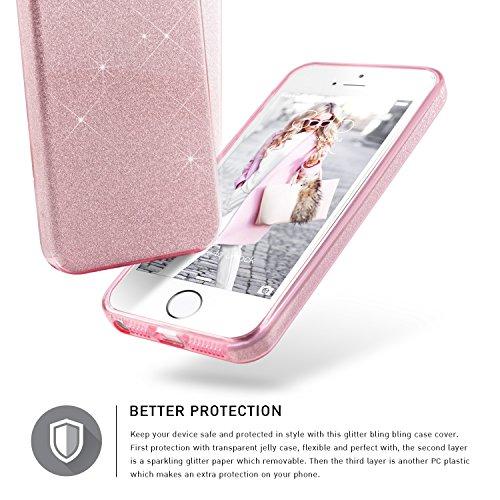Coque iPhone 5S Paillette Argent, TheBlingZ.® Coque iPhone 5, Housse Etui Protection Brillante Paillette Case pour iPhone 5S 5 SE - Argent Rose