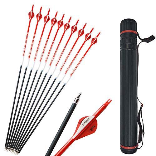 SHARROW 12pcs Carbonpfeile 30 Zoll Jagdpfeile Pfeile für Bogen Bogenpfeile Spine 500 mit Pfeil Köcher für Recurvebogen und Compoundbögen (Rot)