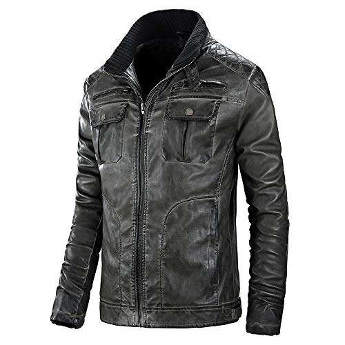 Setsail Trend Oberteil für Herren Herbst Winter Casual Pocket Zipper Thermo Lederjacke Top Coat Wesentlicher Art und WeiseHerrentel - Mens Solide Schwarzen Anzug