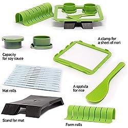 Libertroy Sushiquik Super Easy Kit per la creazione di Sushi Strumenti per Fai da Te Sushi Maker Set di Macchine Rullo di Riso Stampo Roller Cutter Accessori da Cucina - Verde