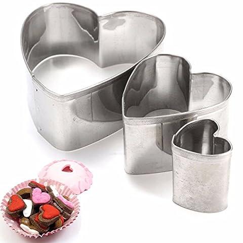 Aliciashouse 3Pcs Liebes-Edelstahl-Ausstechform Mold Herz Biscuit Fondant Cutter Kuchen verziert