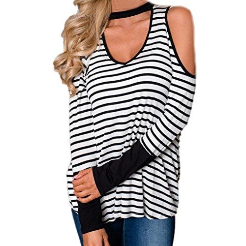 Damen Mode Oberteile Tops Schulterfrei Langarm T-Shirt Gestreift Bluse Shirt Damen Elegante V-Ausschnitt Langarmshirt Neckholder Stretch Tunika Bluse Schwarz Weiß Hemd Shirt (White, XL) (Knopf-manschette Stretch-blazer -)