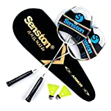 Senston Two Pieces Graphite Shaft Badminton Racquet,Badminton Racket Set,Including Badminton Bag,Set of 2,Red