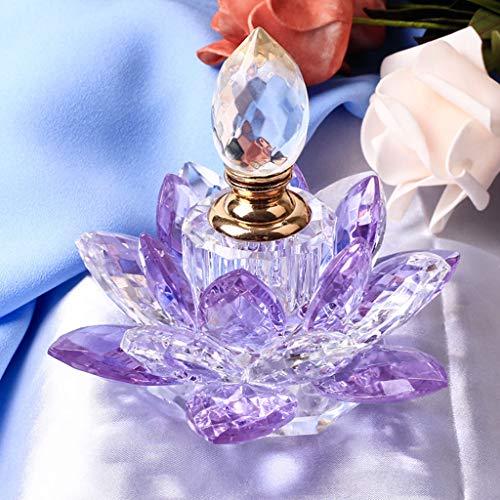 UIEMMY Skulptur Schmuckstücke Klarer Kristall Lotus Flower Parfüm Flasche Crystal Craft Miniatur Vintage Glas Parfüm Flasche Ornamente Home Decor Geschenke, Typ 3 -