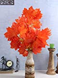 Fourwalls UV Protected Artificial Polyester and Plastic Maple Stem (50 cm x 1 cm x 70 cm, Orange, Set of 4)