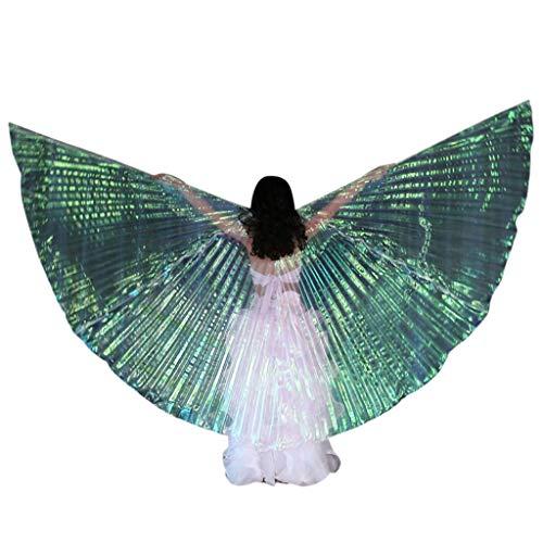 Chejarity Kinder Bauchtänzerin Flügel Wings Dance Fairy Feen Prinzessin Kostüm Schmetterling Stützen mit Stöcke Bühnenauftritte Halloween Karneval Cosplay Party Fasching Kleidung (120CM, Weiß)