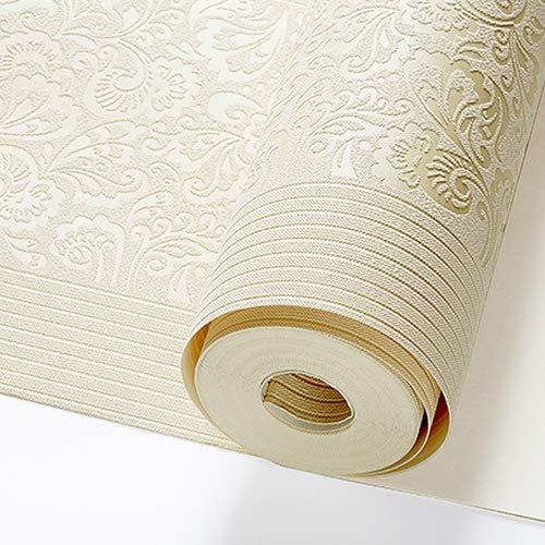 XY399 degrees Beige Gelb Geprägte Textur Floral Gestreifte Tapetenrolle Für Wand Schlafzimmer Moderne Tapeten Wohnkultur Wohnzimmer-in Tapeten Von Heimwerker J02101 Creme 10mx53cm -