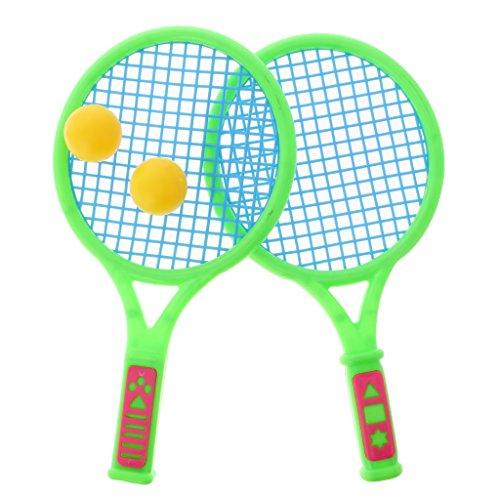 Baoblaze 2 Stück Tennisschläger +2 Bälle Spielset für Kinder Spaß, Sicher und Langlebig - Klein