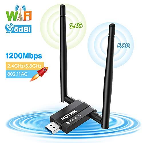 ROTEK WLAN Stick Adapter WiFi USB 3.0 WLAN Empfänger Antenne Netzwerk 1200Mbps (5.8G/867Mbps + 2.4G/300Mbps) Wireless Adapter Dual Band für PC/Desktop/Laptop, Windows XP/Vista/7/8/10; Linux; Mac OSX