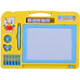 AIJIO 2 in 1 Double Sided Magnetic Slate Whiteboard and Blackboard with Chalk, Duster and Stylus (Yellow)