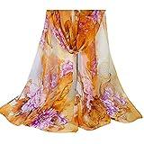 OUKIN Fashion Lady Women Floral Print Sheer Chiffon Soft Long Silk Scarf Scarves Sheer Wrap Shawl (Orange)