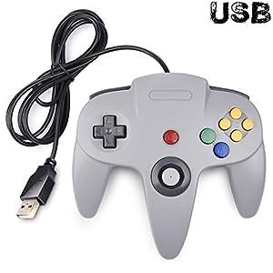 Classic N64 Controller, SAFFUN N64 Wired USB PC Game Pad Joystick N64 Bit USB Wired Game Stick Joy Pad Controller für Windows PC Mac Linux Raspberry Pi 3 Sega Genesis Higan grau grau