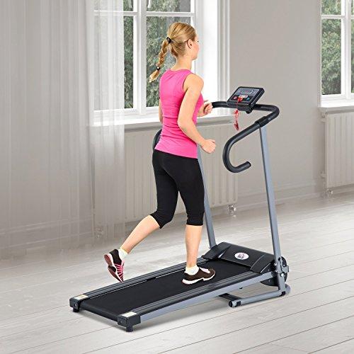 Outsunny - Tapis roulant elettrico con schermo LCD, per l'allenamento in casa, home fitness 500 W pieghevole nero-grigio