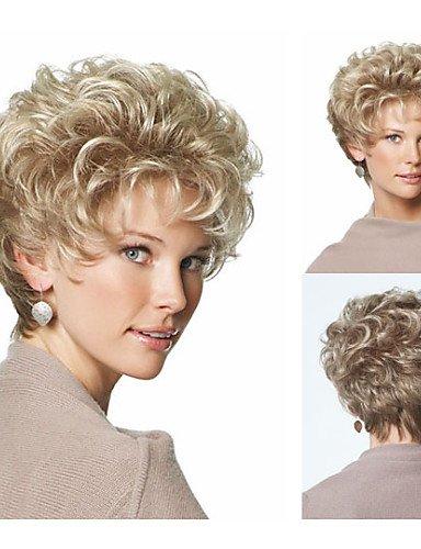 BBDM classique de synthèse de lutin perruques cheveux courts perruques blondes pour les femmes perruques naturelles avec frange , blonde