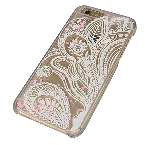 iPhone 5C Hülle,iPhone 5C Case,iPhone 5C Cove,3D Kreativ Muster Transparent Hard Case Cover Hülle Etui für iPhone 5C,EMAXELERS Cute Tier Cat Kaninchen Serie Bling Luxus Shiny Glitzer Treibsand Liquid  Heart Series 15
