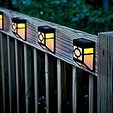 Watopi - Luci solari impermeabili per recinzioni, a LED, per esterni, 2 modalità, cortile e vialetto, recinzione, patio, porta d'ingresso, scale, paesaggio, caldo/bianco