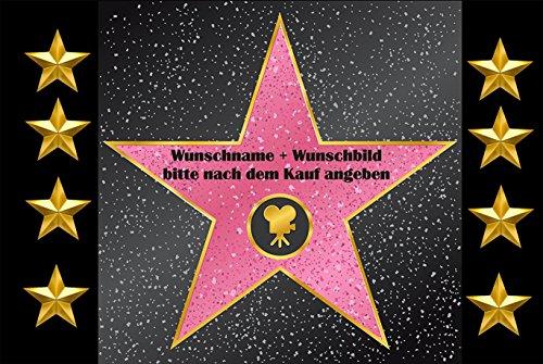 """Fussmatte \"""" Walk of fame \"""" mit Wunschname und Bild (nach dem Kauf angeben)1 - Fussmatte bedruckt Türmatte Innenmatte Schmutzmatte lustige Motivfussmatte"""
