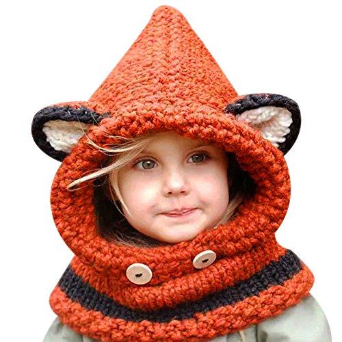 Fuchs Mädchen Kostüm (Eleery Baby gestrickte Mützen Kostüm Handarbeit gehäkelt Fotografie Props Kindhut Fuchs Handgestrickt Schalkragen Kindmütze Caps Kopfbedeckung)