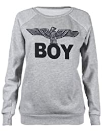 Womens New Army Boy Eagle Front Printed Ladies Long Sleeve Round Crew Neck Stretch Sweatshirt T-Shirt Top Light Grey Size 8-10