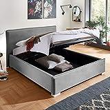 Designer Bett mit Bettkasten Sofia Samt-Stoff mit Biese Polsterbett Lattenrost Doppelbett Stauraum Holzfuß weiß (Grau, 160 x 200 cm)