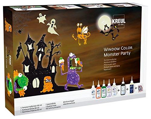 Kreul 42850 - Window Color Set Monster Party, für kleine und große Kreative, 5 x 80 ml Fensterfarben, je 80 ml Konturen- und Nachtleuchtfarbe, 2 verschiedene Folie, 150 Schmucksteine und Motivvorlagen (Monster-set Kleine)