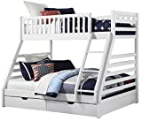 Sweet Dreams States Wooden Triple Sleeper Bunk Bed Frame White Wood with Drawers