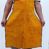 LAIABOR Große Schweißerschürze aus Rindsleder flammhemmend hitzebeständig Arbeitskleidung Schutzkleidung Chrom-Leder-Schürze