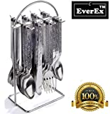 #1: EverEx™ stainless steel cutlery set / spoon and fork set ( 24 pcs ) with stand for kitchen and dining table. (*Made in India)