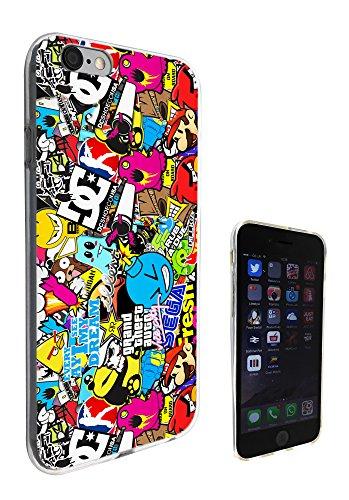 589-Coque iPhone 6Motif Sticker Bomb Cool Funky tous les bords 6S 11,9cm Fashion Trend Coque en silicone gel Housse de protection Coque