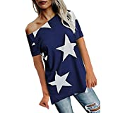 Frauen Shirt LSAltd Damen Mode aus der Schulter Oberteile Sterne Print Kurzarm Bluse Lässig Schick T Shirt Sommer Crop Top (L, Blau)