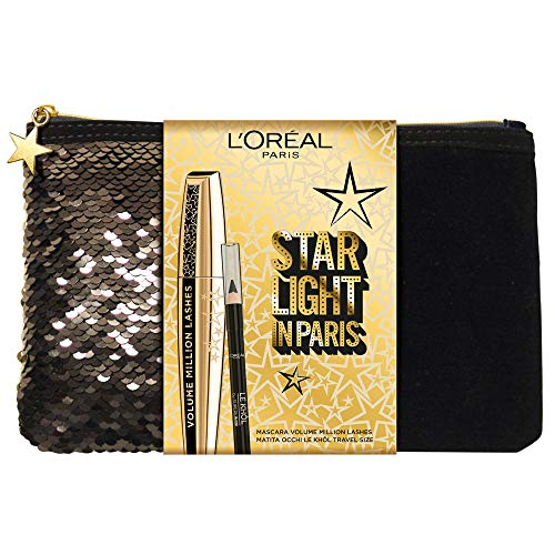 L'Oréal Paris Pochette Idea Regalo Natale con Mascara in Edizione Limitata Millions Lashes e Matita Occhi Formato Viaggio Superliner Le Khol
