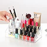 VMORE Multi Grid Acrylic Makeup Organiser Transparent Plastic Makeup Cosmetic Storage Box Lipstick Nail Paint/Polish Holder Display Stand Organizer