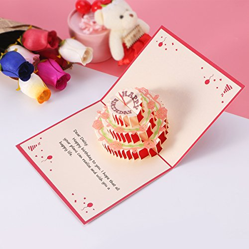 Amazoncom Unomor Happy Birthday Card 3 Layers Cake Pop Up Birthday Card with Cute Red Candle Envelope Included Office Products