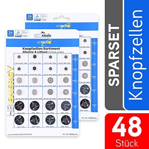 HEITECH 48er Pack Alkaline & Lithium Knopfzellen Batterie - 4X AG1 / 4X AG3 / 8X AG4 / 8X AG10 / 8X AG13 / 4X CR2016 / 4X CR2025 / 8X CR2032-1,5V & 3V Knopfbatterien auslaufsicher
